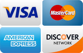Credit, Debit Cards Accepted, No Fees, Visa, Mastercard, American Express, Discover, Payment plans available.